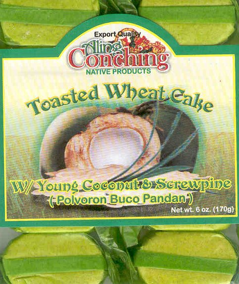 ALING CONCHING POLVORON PANDAN WHEAT CAKE w/COCONUT & SCREWPINE