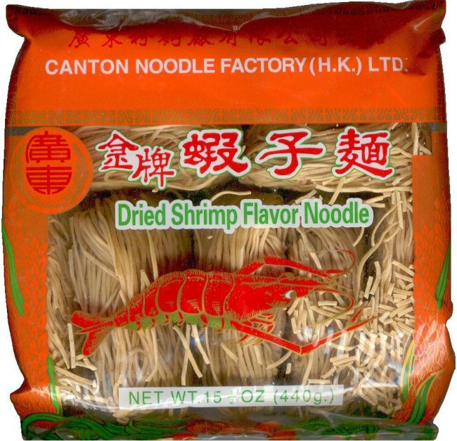 CANTON NOODLE FACTORY DRIED SHRIMP FLAVOR NOODLE THIN ROUND