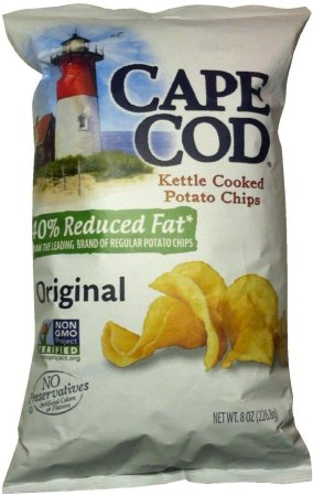CAPE COD KETTLE COOKED POTATO CHIPS 40% REDUCED FAT ORIGINAL