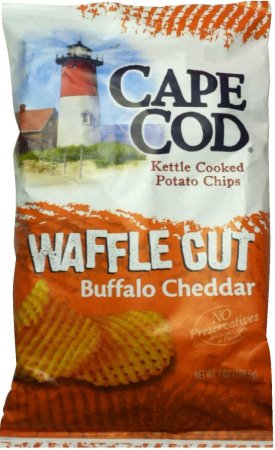 CAPE COD KETTLE COOKED POTATO CHIPS WAFFLE CUT BUFFALO CHEDDAR