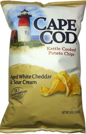 CAPE COD KETTLE COOKED POTATO CHIPS WHITE CHEDDAR & SOUR CREAM