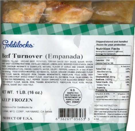 GOLDILOCKS BEEF TURNOVER EMPANADA