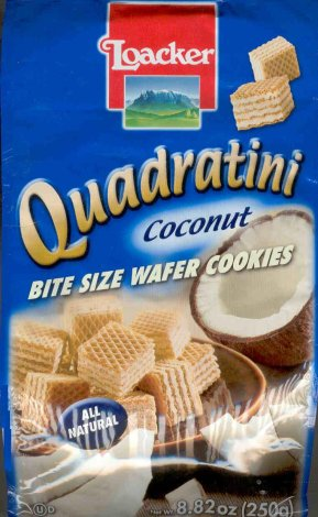 LOACKER QUADRATINI BITE SIZE COCONUT WAFER COOKIES