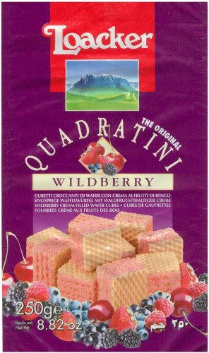 LOACKER QUADRATINI BITE SIZE WILDBERRY WAFER COOKIES
