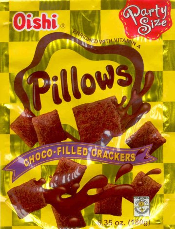 OISHI PILLOWS CHOCO-FILLED CRACKERS