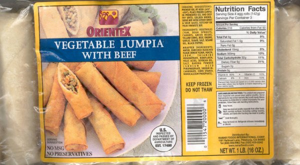 ORIENTEX VEGETABLE LUMPIA WITH BEEF