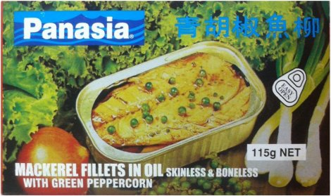 PANASIA MACKEREL FILLETS IN OIL SKINLESS WITH GREEN PEPPERCORN