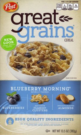 POST GREAT GRAINS BLUEBERRY MORNING CEREAL