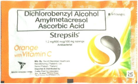 RECKITT DICHOROBENZYL ALCOHOL AMYLMETACRESOL STREPSILS ORANGE