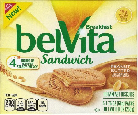BELVITA PEANUT BUTTER SANDWICH BREAKFAST BISCUITS